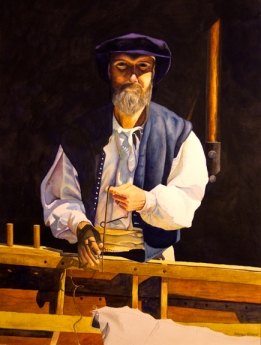 Mending the Sails (watercolor) - available
